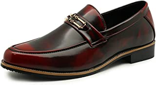 MYHYZZ-Oxfords Classic Business Oxford Shoes for Men Breathable PU Leather Wedding Loafers Anti-slip Flat Two Tones Metal Round Toe Slip-on High Quality Breathable Comfort Shoes