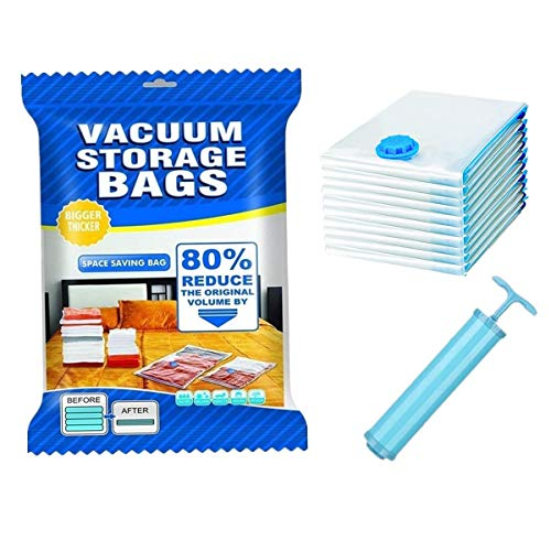 Vacuum Storage Bags, Pack of 10 (3 Jumbo (80x120cm) + 4 Large (60x80cm) + 3 Small (40x60cm)) Extra Thick Reusable Space Saver Bags for Travel packing or Home Storage - Free Travel Hand-Pump Included!