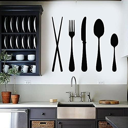 Cuchara cuchillo y tenedor etiqueta de la pared vinilo calcomanía vinilo etiqueta de la pared vajilla cocina restaurante pegatina mural A9 52x42 cm