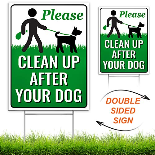 Signs Authority Clean Up After Your Dog 12 x 9 Yard Sign with Metal Wire H-Stakes Included | Quick & Easy to Mount Weather Resistant Long Lasting | No Pooping Dog Lawn Signs | Corrugated Plastic