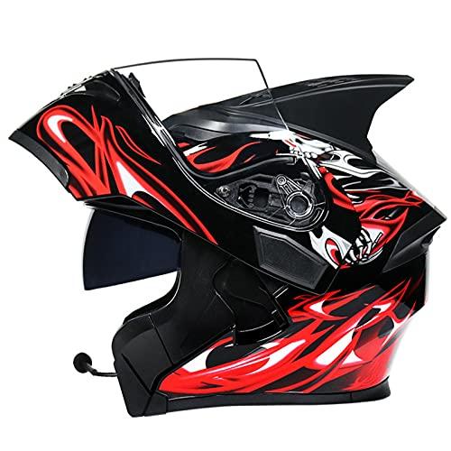 ZPTTBD Bluetooth Casco Moto Hombre Mujer, Modular Casco de Motocicleta Integrado con Doble Visera para Motocicleta Scooter, ECE Homologado Casco de Moto para Adultos (Color : B, Size : (XL/61-62CM))
