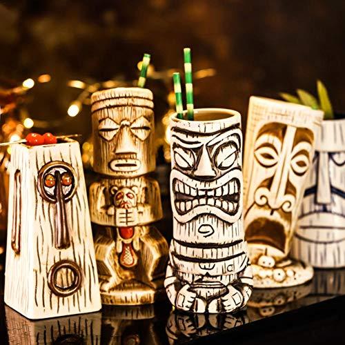 Tiki-Köpfe Verschiedene Arten Von Keramikbechern Cocktailglas Barbecher Kaltgetränkbecher Becher Keramikmaterial Manuelle Produktion Hawaiian Themed Cocktailgläser Hawaiian Motto Party Cup 450ml