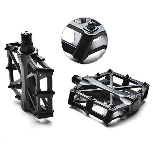 """AGPtek Bike pedales de la bicicleta 9/16 """"MTB BMX Teniendo aleación de plataforma Pedales para bicicletas de montaña ciclismo de carretera (Negro)"""