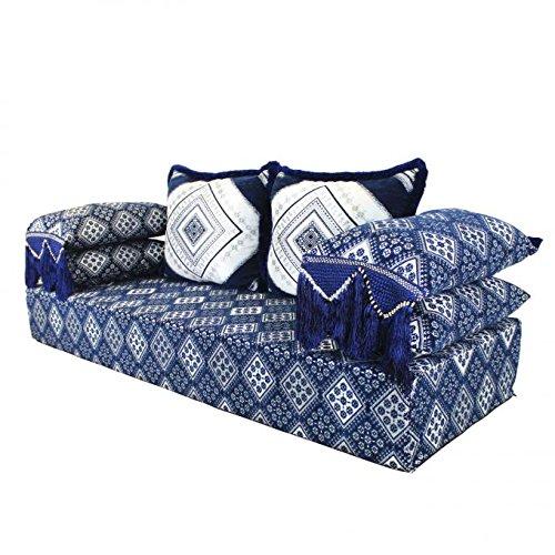Orientalisches Sofa marokkanische Sitzcouch Amina 5tlg Set inkl. Füllung mit 2 Rücken- & 2 Lehnenkissen Sitzhöhe 25 cm | Arabische Sitzgruppe Sitzecke Sitzkissen Sitzgarnitur Sark Kösesi Boden-Couch
