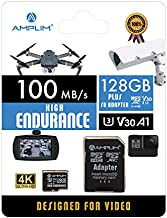 Amplim 128GB Micro SD Card, MicroSD Memory Plus Adapter, Extreme High Speed MicroSDXC SDXC U3 Class 10 V30 UHS-I TF Nintendo-Switch, Go Pro Hero, Surface, Phone Galaxy, Camera Security Cam, Tablet