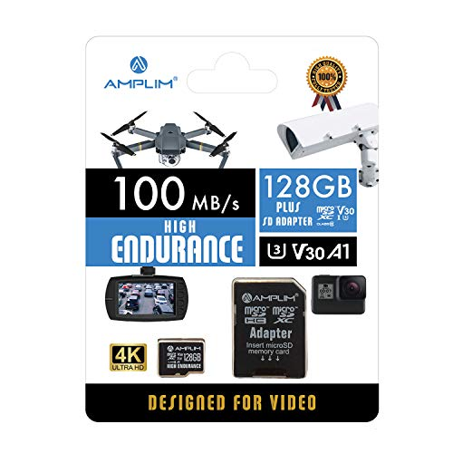 Amplim High Endurance 128GB MicroSDXC Card for Video Monitoring Cameras - Dash Cam, Body Cam, Surveillance Cam, Home Security Cam, Drone, Action Camera. U3, V30, A1, 4K UHD, Micro SD TF with Adapter