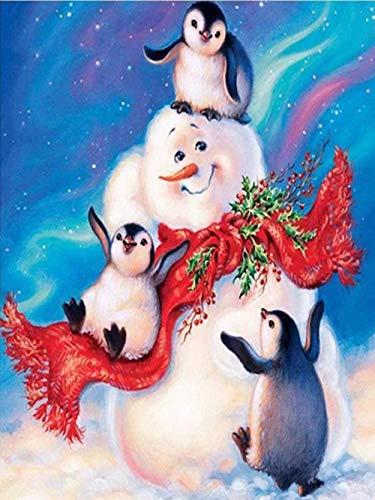 Pintura al óleo de Bricolaje Kits Muñeco de nieve pingüino Pintar por Numeros con Pinceles y para la Decoración del Hogar (16x20 inch) Sin Marco