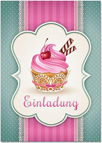 Einladungskarten mit Motiv Muffin / Cupcake ohne Einladungstext. Einladungen passen zum Geburtstag / Kindergeburtstag / Kochen / Backen Party (Ohne Umschläge)