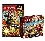 Lego Set Ninjago Kais Feuer-Bike 71734 + libro de Lego Ninjago (cómics, rompecabezas, póster, minifigura Cole