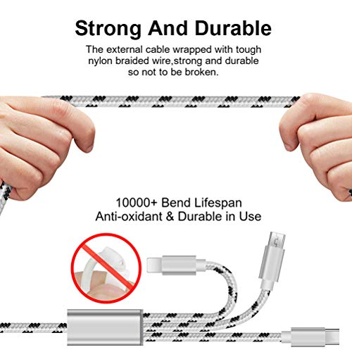 [3pack 4ft] Multi Charging Cable, Multi Charger Cable Nylon Braided Universal 3 in 1 Multiple USB Cable Charging Cord with Type-C, Micro USB SVEUC Compatible with Cell Phones Tablets and More