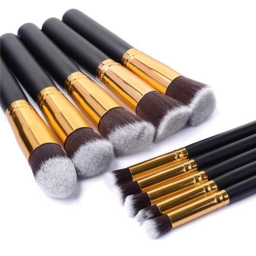 Glamza Lot de 10 pinceaux de maquillage synthétiques professionnels Noir et doré