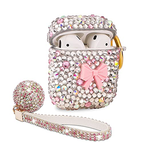 Luxurious Rhinestone AirPods Case, Protective Bling Diamonds AirPod Charging Protective Case Cover for Apple I10/I12 TWS (Butterfly Pink)