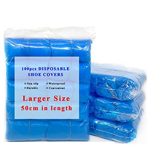 EzLife Cubrezapatos Desechables Impermeables, 100 Piezas Antideslizante Cubiertas de Plástico CPE, Protector de Zapatos Desechables ExtrafuerteTalla única