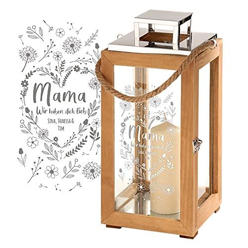 Casa Vivente Laterne aus Holz und Edelstahl mit Gravur für Mama, Personalisiert mit Namen, Motiv Blumenherz, Deko-Windlicht für Kerzen zum Muttertag