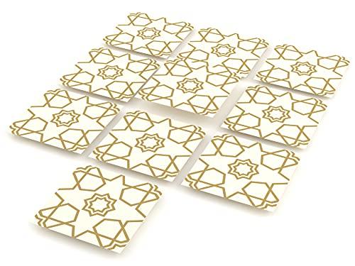 Tink Adhesivo para azulejos | Azulejos adhesivos para cocina y baño para suelos, escaleras y superficies de madera | Grosor óptimo de lámina de 0,5 mm (Selcuk, 15 x 15 cm // 10 unidades)