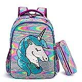 Zaino Scuola Elementare Paillettes Unicorno Zaino per Ragazze Zaino per Bambini Borsa per Scuole Primaria 16' Outdoor Daypack Borsa da Viaggio con Astuccio