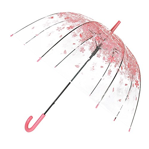 TOSOAR Durchsichtiger Regenschirm Transparente hochzeitsschirm Kuppel (Pink)