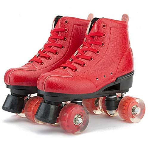Patines Para Mujeres Y Hombres, Patines Ajustables Roller Skates Classic 4 Ruedas Patinaje Roller PU Cuero Patines De Doble Fila Para Interiores Y Exteriores Unisex, Adulto ( Color : Rad , Size : 40 )