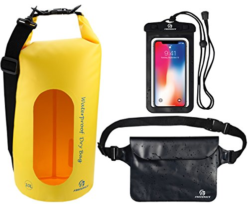 Freegrace Waterproof Dry Bags Set of 3 Dry Bag with 2 Zip Lock Seals & Detachable Shoulder Strap, Waist Pouch & Phone Case - Can Be Submerged Into Water - for Swimming (Yellow(Window), 5L)