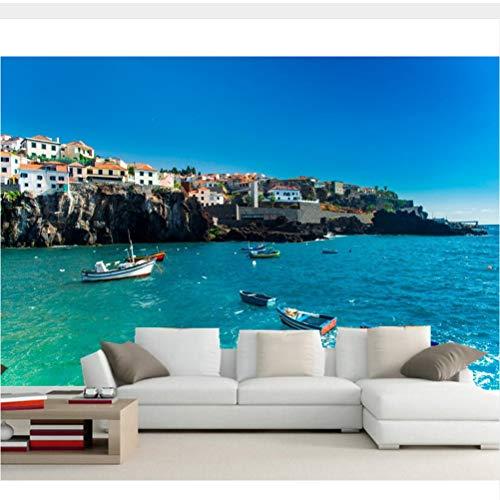Meaosy Portugal Huizen Zee Boten Kust Stad Fotobehang, Woonkamer Tv Sofa Muur Slaapkamer Restaurant Bar 3D Mural 200x140cm