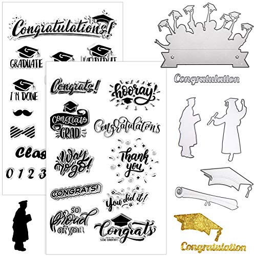 6 Pieces Graduation Theme Metal Cutting Dies and 2 Pieces Silicone Clear Stamps with Graduates, Bachelor Cap, Diploma and Blessing for Scrapbooking DIY Card Making Decorative Embossing Paper Cards