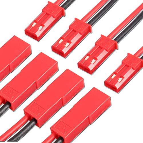 VUNIVERSUM 5X Paar Premium JST BEC LED 2Pin Adapterkabel Stecker Buchse Male und Female inkl. 30cm Hochstrom 22AWG Kabel Enden verzinnt RC Lipo Akku Modellbau