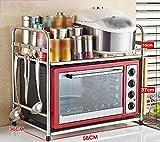 Creatividad Piso del Horno microondas de Cocina en Rack estantes de Hornos Microondas de estanterías Bollos Estante de Acero Inoxidable Estante de Almacenamiento en Rack Tune