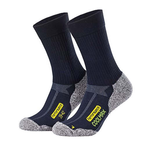 Piarini 2 Paar Coolmax Wandersocken Outdoorsocken Funktionssocken lang marine 43-46