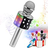 VERKB Kids Karaoke Machines Toy for 3-12 Year Girls, Bluetooth Karaoke Wireless Microphone with LED Lights for Children's Gift Toy (Silver)