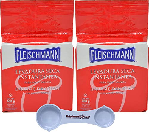 Fleischmann's Instant Dry Baking Yeast 15.9 oz Bag (Pack of 2) By The Cup Pack with Fleischmann's Measuring Spoon