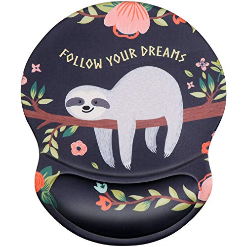iCasso Mouse Pad, Ergonomic Mouse Pad with Gel Wrist Rest Support, Durable & Comfortable Large Non-Slip Pain Relief Mousepad for Office, Home - Easy Typing and Gaming (Sloth)