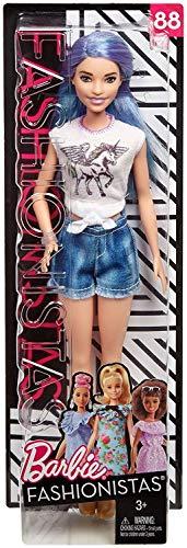 Mattel Barbie - Fashionistas Puppe, im Tshirt, mit Einhorn-Aufdruck und goldenen Stiefeletten