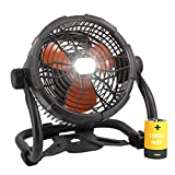 Rechargeable Outdoor Floor Fan, Portable Battery Operated High Velocity Fan with Led Light, USB Type C Port, 3 Speeds, Cordless Industrial Fan with Metal Blade for Garage/Patios/Gym/Camping(12 Inch)