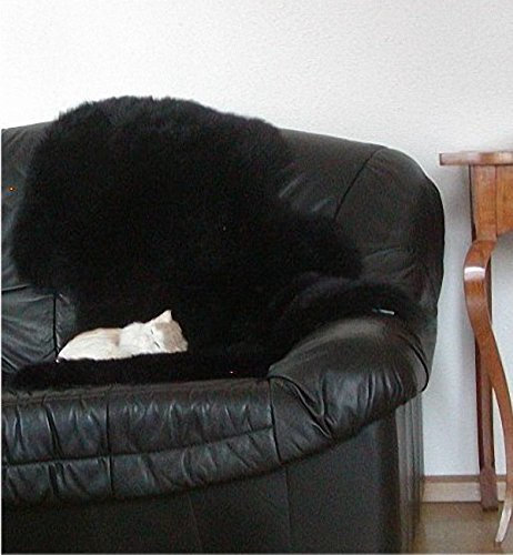 HEITMANN australische Lammfelle schwarz gefärbt waschbar, Haarlänge ca. 70 mm, ca. 100x68 cm