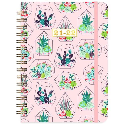Agenda 2021 2022 – A5 – Agenda semanal de julio 2021 hasta junio 2022, 15 x 21 cm, diseño de cactus rosa