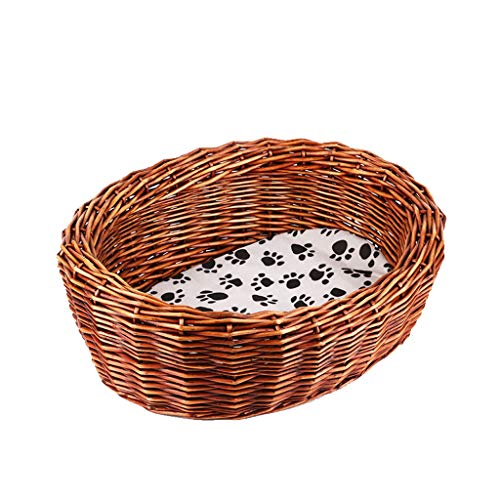 Nest Wicker Pet Bed Basket, Dog Bed 53cmx43cmx19cm Load 7kg Suitable For Small Pets (Handmade Item) house (Color : A, Size : 53cmx43cmx19cm)