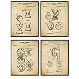 Coffee Maker Brewer Patent Art Prints - Vintage Wall Art Poster Set - Chic Rustic Home Decor for Kitchen, Bar, Cafe - Gift for Baristas, Cold Brew, Espresso, Cappuccino Fans, 8x10 Photo - Unframed