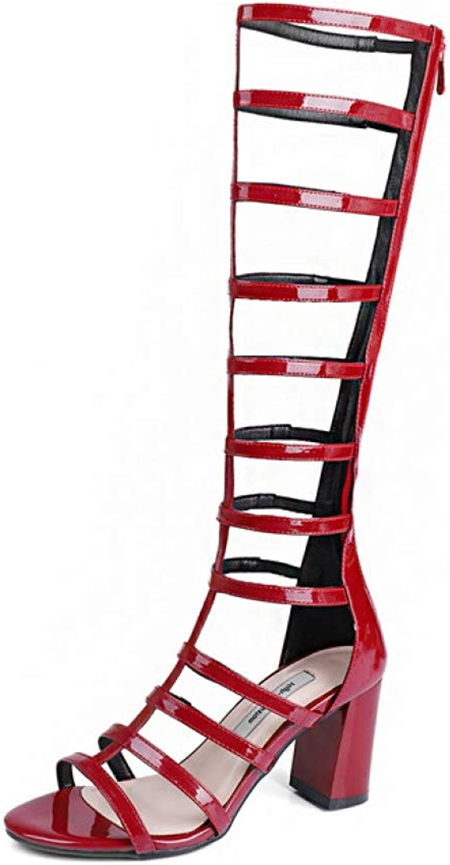 T-JULY Elegant Sandals Women High Heels Pumps Rome Style Knee High Summer Platform shoes Woman Long Sandals