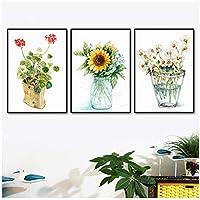 モダンヒマワリキャンバスアートプリント鉢植え植物絵画壁アートピクチャールーム家の装飾50x72cmx3フレームなし