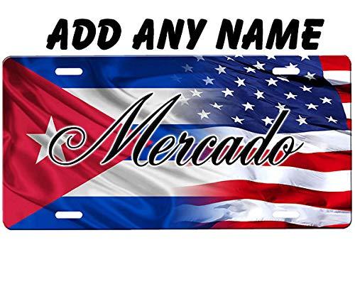 Cuban Flag/American Flag License Plate