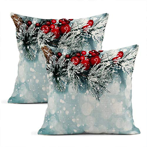 Zynii Pillowcase Christmas Tree Branch with Cones Winter Berries in Snow Decorate Your Room and Living Room to Bring You Comfort as a Gift
