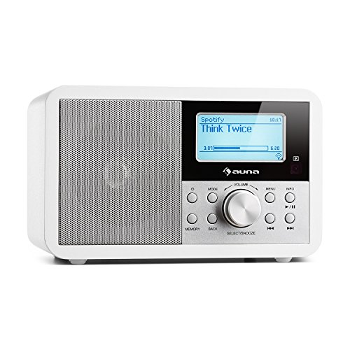auna Worldwide - Internetradio, Digitalradio, WLAN-Radio, Netzwerkplayer, DAB/DAB+ Tuner, UKW/MW-Empfänger, MP3-USB-Port, Wecker, Sleep-Timer, LCD-Display, Fernbedienung, weiß