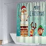 Michorinee Weihnachten Duschvorhänge Weihnachtsmann Elch Rentier Muster Anti-Schimmel Wasserdicht Anti-Bakteriell Grün Badezimmer Vorhang Weihnachtsmotiv für Badewanne 180 × 180 cm