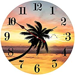 MEISTAR Wood 14 Inch Large Wall Clock for Home,Kitchen and Office Decoration,Ultra Big Numerals Modern Style Seascape Pattern Silent Quartz Wall Clock