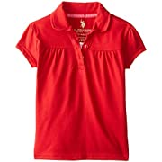 U.S. Polo Assn. Little Girls' Polo Shirt (More Styles Available), Jersey Navy-IJTCD, 5/6