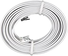 Bistras 100 Feet White Telephone Extension Cord Cable Line Wire