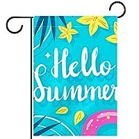 ガーデンサイン庭の装飾屋外バナー垂直旗こんにちは夏 オールシーズンダブルレイヤー