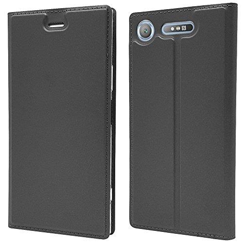NALIA Coque Flip-Case Compatible avec Sony Xperia XZ1, Fine Magnétique Housse Protection Avant & Arrière Cover Etui en Cuir Synthétique, Anti-Choc Bumper Rigide Mince Résistant, Couleur:Gris Noir