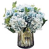 Felice Arts Artificial Silk Flowers California Fake Beautiful Hydrangea Bouquet Flower for Home Wedding Decor,Pack of 3 (Blue)
