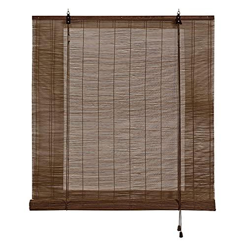 STORESDECO Estor de bambú, Estor Enrollable de bambú Natural, persiana de bambú para Interior. (150 cm x 175 cm, Marrón Oscuro)
